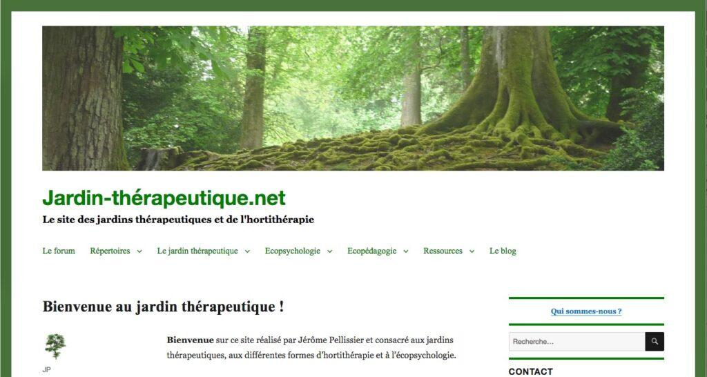 Capture d'écran de la page d'accueil du site www.jardin-therapeutique.net